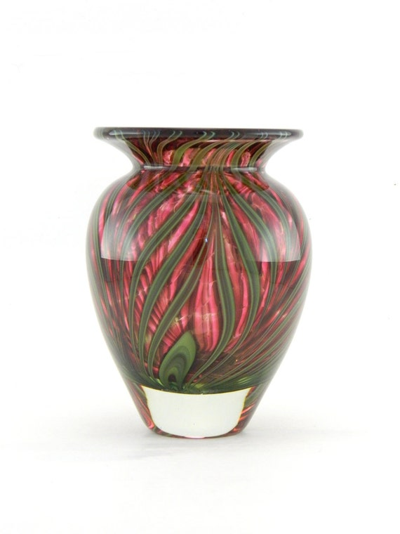 Hand Blown Art Glass Vase - Pink and Green - Cased
