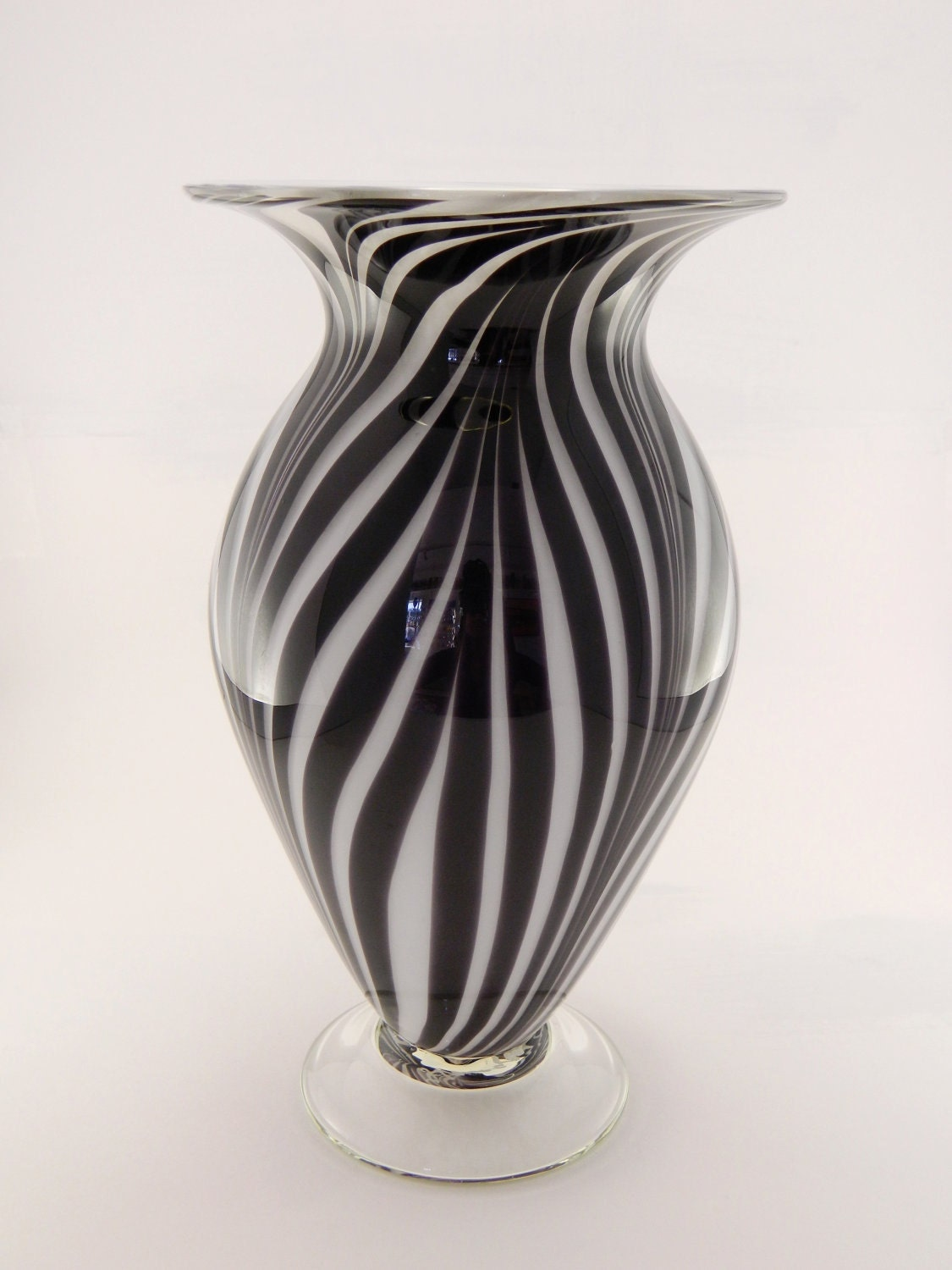 Hand Blown Art Glass Vase Black And White By Paradiseartglass