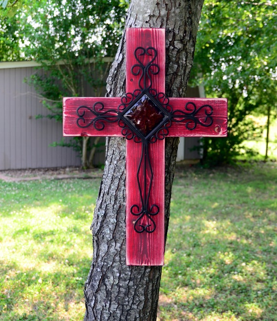 Distressed wood and metal cross
