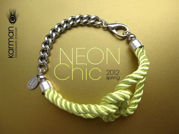 Neon jewelry. Vibrant lime neon silk bracelet. Neon lime color silk knotted bracelet on silver chain for Summer 2012 by Karman Jewelry.