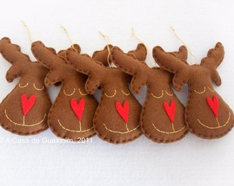 Set of 6 dark brown Reindeers - Christmas ornaments