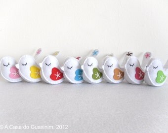 Embroidered Birds - Set of 8