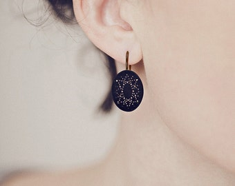 Onyx Dot Pattern Earrings in blackened silver