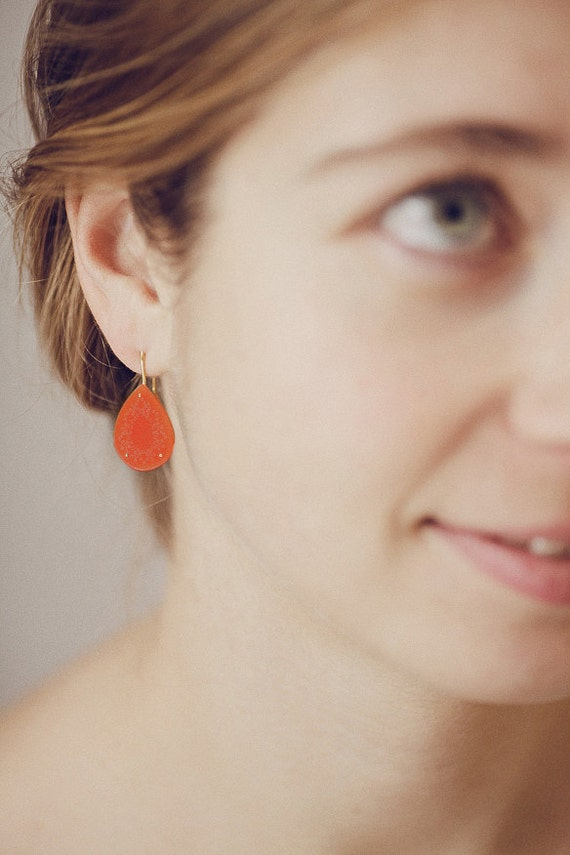 Coral earrings with delicate dot pattern in goldplated silver