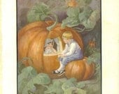 Vintage Ella Dolbear Lee Illustration, Peter Pumpkin Eater, Mother Goose Storybook, Nursery Rhyme Print