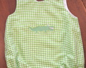 Alligator Applique Lime Gingham Baby Bubble Romper