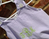 Monogrammed Lavender Check Seersucker Baby Girl Bubble Romper