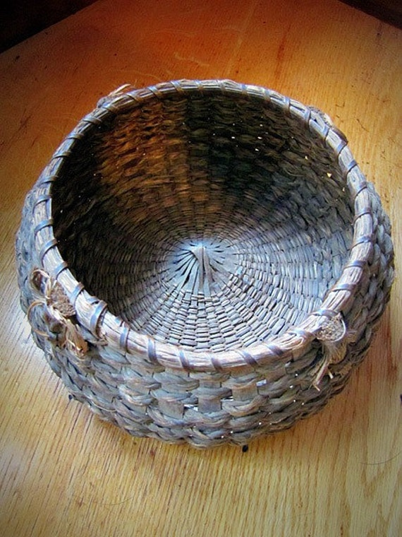 Antique Handmade Native American Sweetgrass Basket
