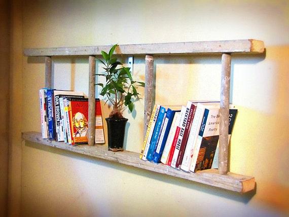 Antique wooden bookshelf ladder cream painted