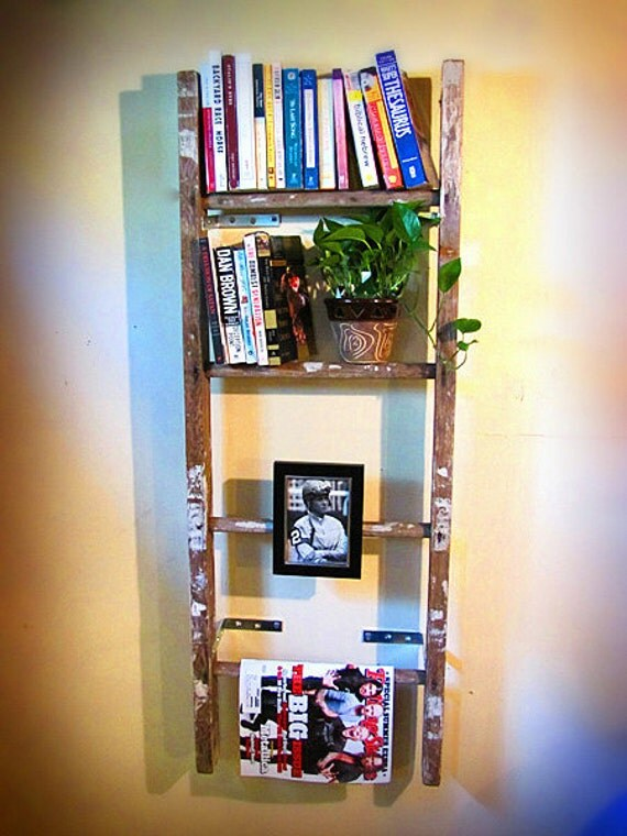 Vintage Wooden Ladder Bookshelf Magazine Rack By