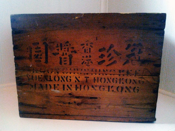 Wooden Crate with 3 Different Languages