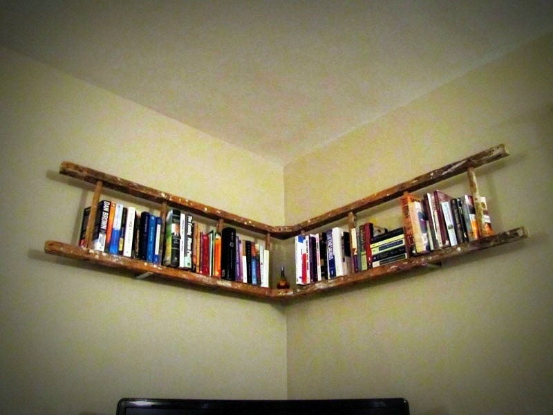Antique wooden ladder bookshelf by naturallycre8tive on etsy - Reclaimed wood ladder shelf ...