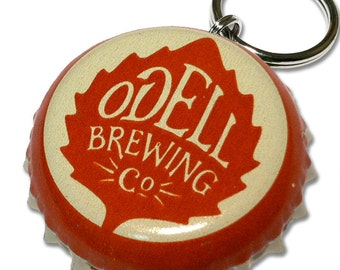 Odell Brewing Beer Bottle Cap Customizable ID Tag ORANGE