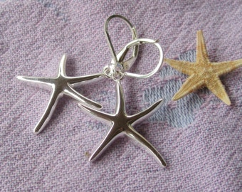Sterling Silver Style Starfish Earrings - Summery, Beachy Sterling Earrings, Down to the Sea, Starfish on Leverbacks