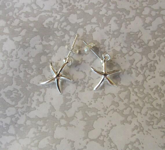 Sterling Silver Miniature  Popular Style Starfish Earrings - Summery, Beachy Sterling Earrings on Stud Posts