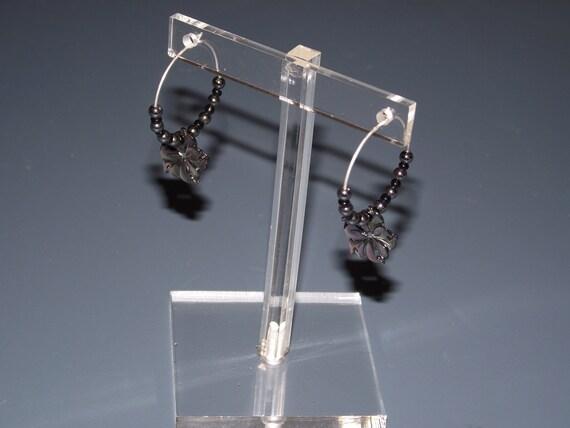 Carved Flower Black Shell and Hematite Beaded Silver Hoop Earrings