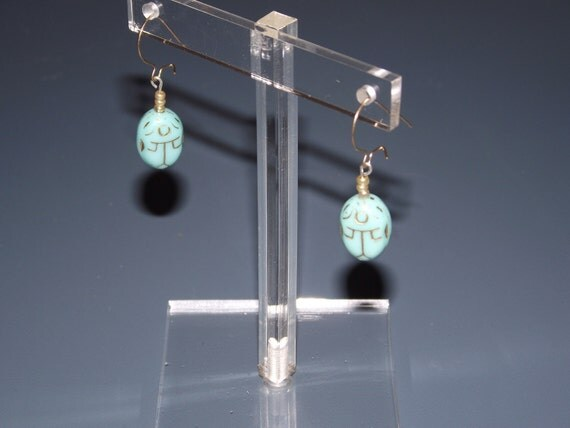 Turquoise Scarab and Gold Earrings