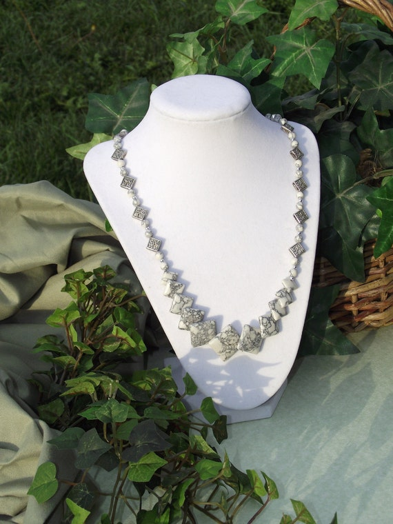 RESERVED for JCM - White and Grey Howlite Celtic Themed Silver Beaded Necklace