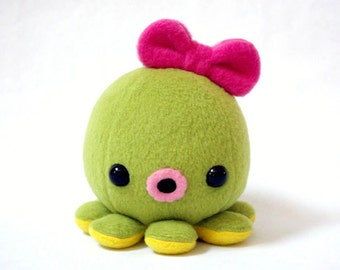 Baby Octopus Plush in Lime Green with Bow