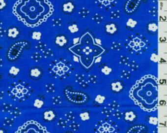 "60"" Royal Blue Bandana Cotton Fabric-15 Yards Wholesale by the  Bolt"