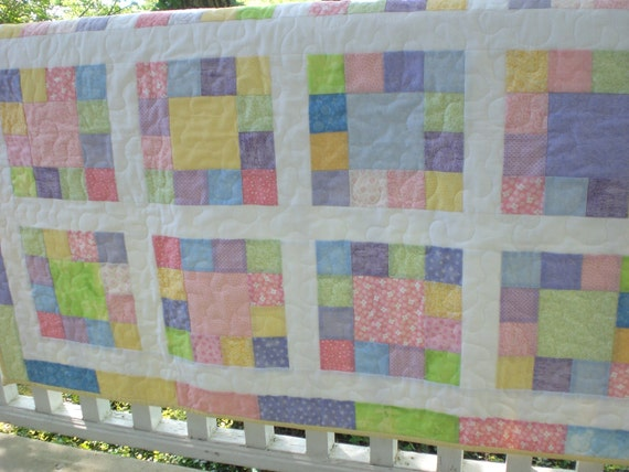 Pastel Baby quilt, baby boy, baby girl gift