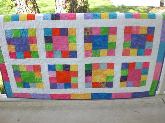 Handmade baby quilt bright and colorful