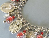 Handmade Religious Charm Bracelet Vintage Catholic Saint Medals and Red Floral Blown Glass Beads