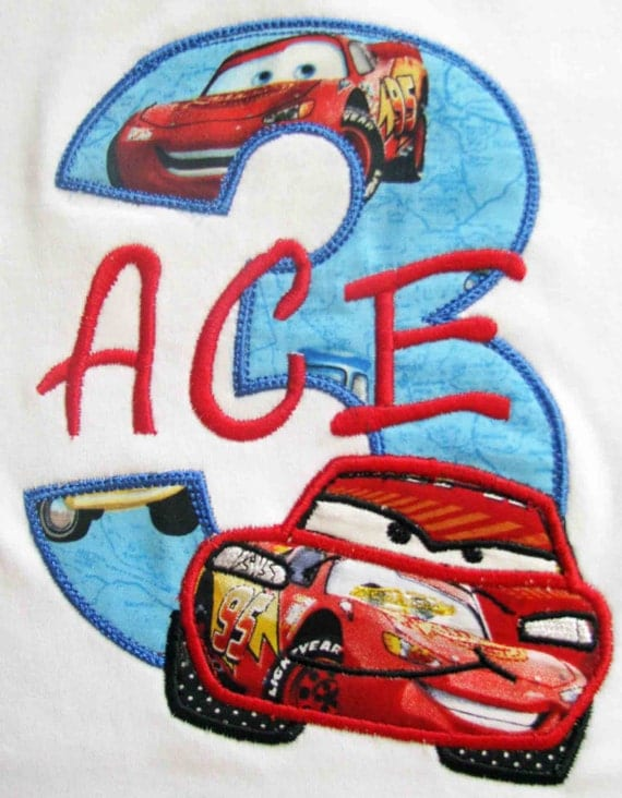 RESERVED for vallydreams Long Sleeve Lightning McQueen Cars Birthday Number Shirt
