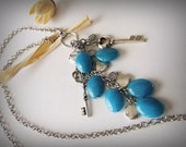 Necklace Dyed Blue Jade and Key Charms
