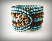 Handcrafted Cuff Beaded Leather Wrap Bracelet Size M (brown, turquoise)