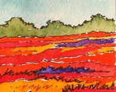 Small Watercolor Landscape, Maine Blueberry Field after Harvest, Original ACEO