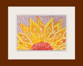 Geometric Sun Flower Original WaterColor Art Small Format ACEO home decor