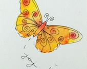 Little Butterfly of Joy-  Original watercolor and ink, miniature art ACEO