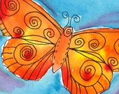 Golden Butterfly on Blue- Original Watercolor and Ink, miniature art, ACEO, Art Nouveau, Bohemian Whimsy style Butterfly
