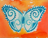 Irridescent Turquoise Fern Butterfly on Tropical Mango - Original Watercolor, miniature art, ACEO, Bohemian, Whimsy style Butterfly