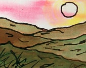 Original Ink and Water Color, Stylized, Landscape Painting 4x6, warm glowing colors, home decor