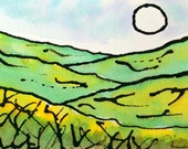 Stylized Original Landscape, ink and watercolor, green, yellow, 4x6 home decor, Vermont