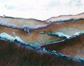 Brown, Blue, Landscape Painting, Original, Minimalist, Pen and Ink Wash  Painting,  Small format, ACEO, home decor
