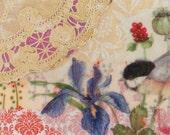 Original Collage, Chicakadee Bird , Mixed Media ART, country charm, shabby chic, home decor