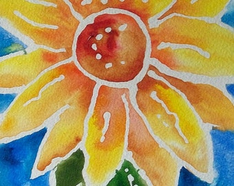 Sassy SunFlower original watercolor painting,abstract art, whimsical, cheerful,  home decor