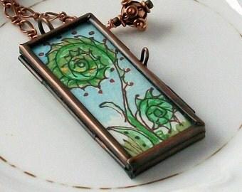 FiddleHead & Fern Handpainted Original Wearable Art Locket Reversable one of a kind ART To Wear Pendant Necklace