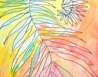 Original ACEO Expressionist WaterColor painting- Dancing Ferns 1