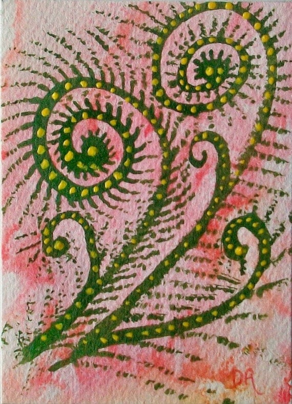 ACEO WaterColor original painting Celebrating FiddleHeads 4