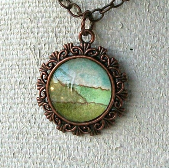 Wearable Art Handpainted Original Scenic Art Pendant Necklace with Chain