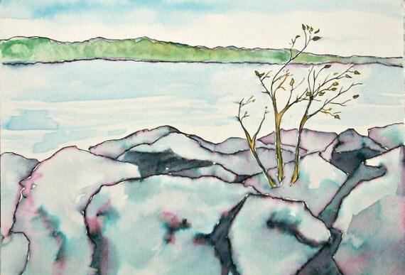 Tenacity- Original art Watercolor Pen and Ink, 5x7 Landscape, East Port ME