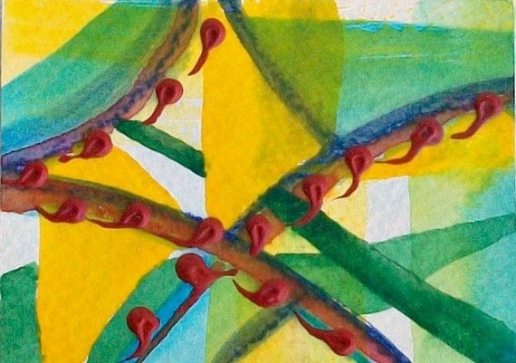 Original Abstract Painting - Growing-  watercolor and acrylic, miniature art, ACEO