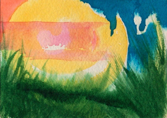 Original Abstract Painting- Life- watercolor and ink, landscape, miniature art, ACEO