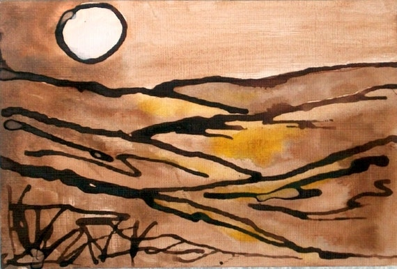 RESERVED -Original  Ink Landscape Abstract Warm Earthy Monocromatic Painting 4x6 home decor