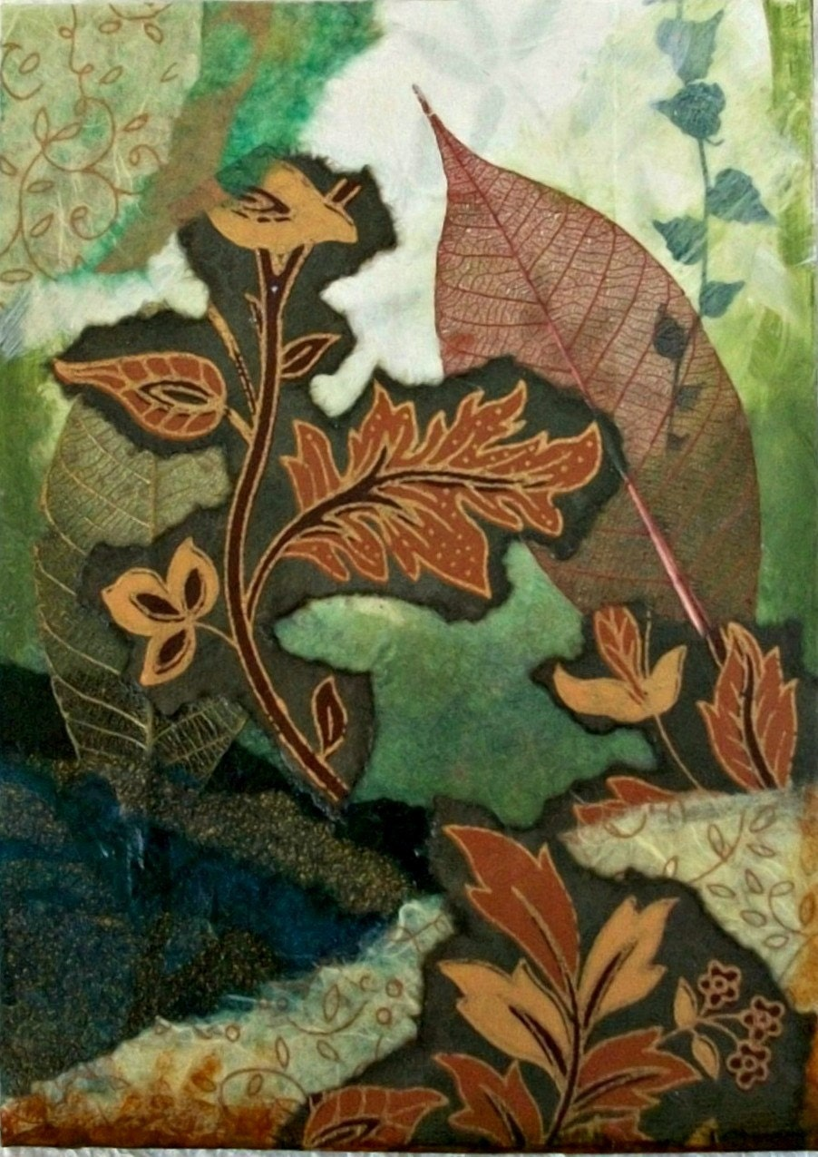 Foliage Original Torn Paper Collage by TheExpressivePalette
