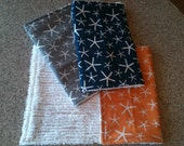Baby Boy Burp Cloths Set of 3 Blue, Orange, Gray Sea Stars from Going Coastal Collection for Michael Miller and White Chenille